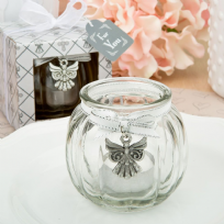 Angel Themed Glass Globe Candle Holder